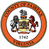 The County of Fairfax, Virginia logo. It is the seal of the county with an orange border with the words of the county.