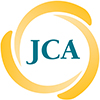 Jewish Council on Aging color logo. Three yellow brush strokes fitted around a circle with the letters JCA in teal in the center