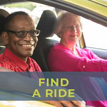 Aging adults in Northern Virginia, find transportation through NV Rides Partners. A happy volunteer driver with her smiling passenger. Both are delighted because transportation for seniors is now solved!